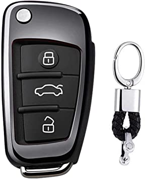 Imagen deFunda de TPU Suave para Llave + Llavero para Coche Audi A1 S1 A3 S3 RS3 A4 S4 RS4 A6 S6 RS6 Q2 Q3 Q5 Q7 TT TTS (Negro)