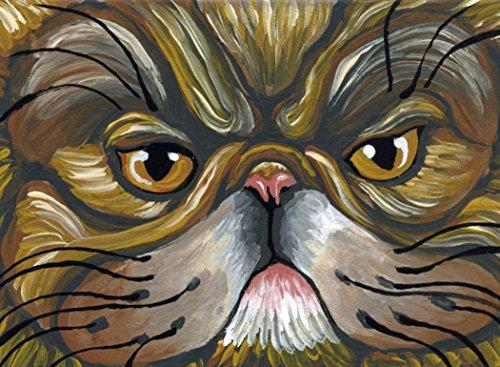 ACEO ATC -Free Shipping-Original Cat Art Brown Tabby Persian Miniature Painting-Carla Smale
