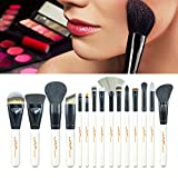15 Pcs Makeup Brush Set, Fenleo Professional Premium Synthetic Foundation Blending Blush Concealer Eye Face Liquid Powder Cream Cosmetics Brushes Kit White Handle with A Bag