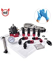 EVIL ENERGY 6AN Adjustable 30-70 PSI EFI Fuel Pressure Regulator with 0-100PSI Gauge Kit for Fuel Injection Rail with Return