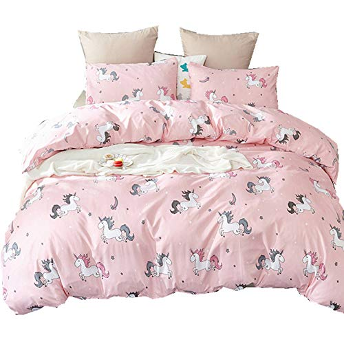 Bobor 3 Piece Quilt Set with Shams, Bedding Set with Cute Pink Unicorn Pattern, Soft Comfortable All Seasons Bedding Set for Girls Bedroom(Queen) (Don T Get Too Close To Me)