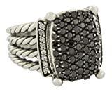 Gempara Designer Inspired Twisted Cable Wheaton Ring Size with Simulated Black Diamonds Size 7