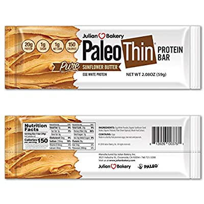 Paleo Thin Protein Bar :(Sunflower Butter) (150 Cal)(20g Protein)(Egg White)(1 Net Carb)(4 Ingredients)(1g Sugar)(12 Bars)