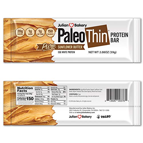 Paleo Thin® Protein Bar (Sunflower Butter) (150 Cal)(20g Protein)(Egg White)(1 Net Carb)(4 Ingredients)(1g Sugar)(10 Bars)