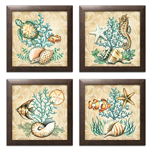 Gango Home Décor Sea Life Still Life Collages; Shells, Seahorses, Reef Fish, Starfishes & Coral; Four 12x12in Brown Framed Prints, Ready to Hang!