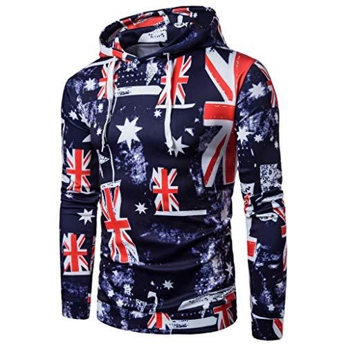 FORUU Men Long Sleeve Hoodie Flag Printing Hooded Coat Jacket Outwear Sport Tops XXL ()