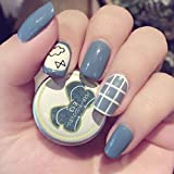 Cute 24pcs Grids Printed Style Fake Nails Oval Short Full Tips for Fingers Nail Art Decoration Grey Blue with Glue Sticker