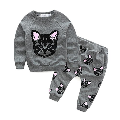 puseky Toddler Kids Girls Cute Cat Sweatshirt Tops & Pants Tracksuit Outfits Set (9-12 Months, Grey)