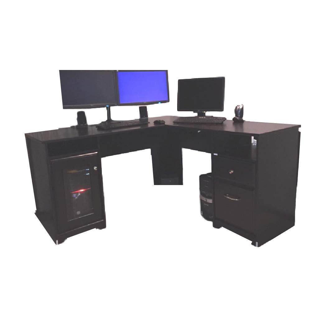 Amazon.com: 60 L Shaped Desk Computer Extra Large Rustic Farmhouse  Executive Office Corner Work Writing Tray Storage Drawers Space Saver U0026  EBook: Kitchen U0026 ...