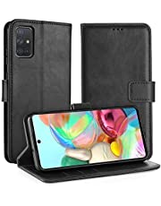 Simpeak Case Compatible with Galaxy A71 [6.7 inch], Smartphone Case Compatible for Galaxy A71 Flipcase Leather [Card Slots] [Stand Feature] [Magnetic Closure Snap] - Black