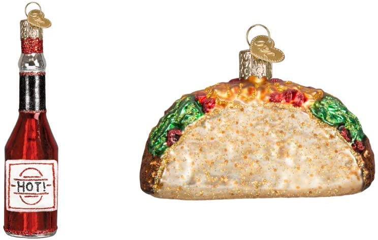 Old World Christmas Taco and Hot Sauce Set of Glass Blown Ornaments
