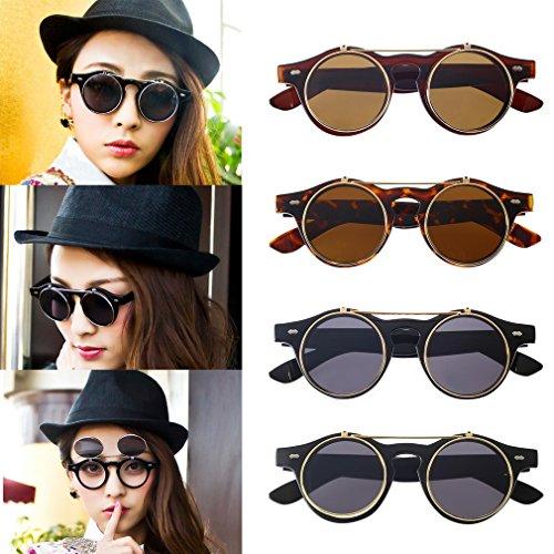 Up Steampunk Gafas Redondas Gafas de Lente Flip Mujeres Sol Redondo Sunglasses Para Leopard Fansport t851wq