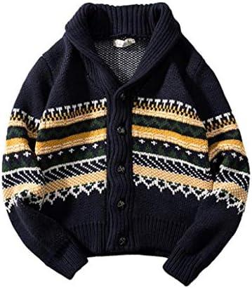 ファッションウォームニットウェアスリムフィット メンズルーズニットカーディガンCcasualファッションVネックボタンのセーターのコートのジャケット (Color : Navy, Size : M)