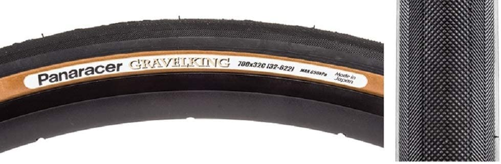 Panaracer GravelKing 700 x 32 C Slick Aramid Folding Tire, Black/Brown