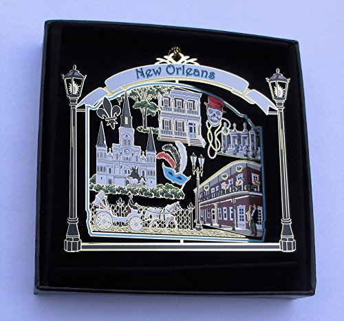 New Orleans Ornament State Souvenir Brass Black Leatherette
