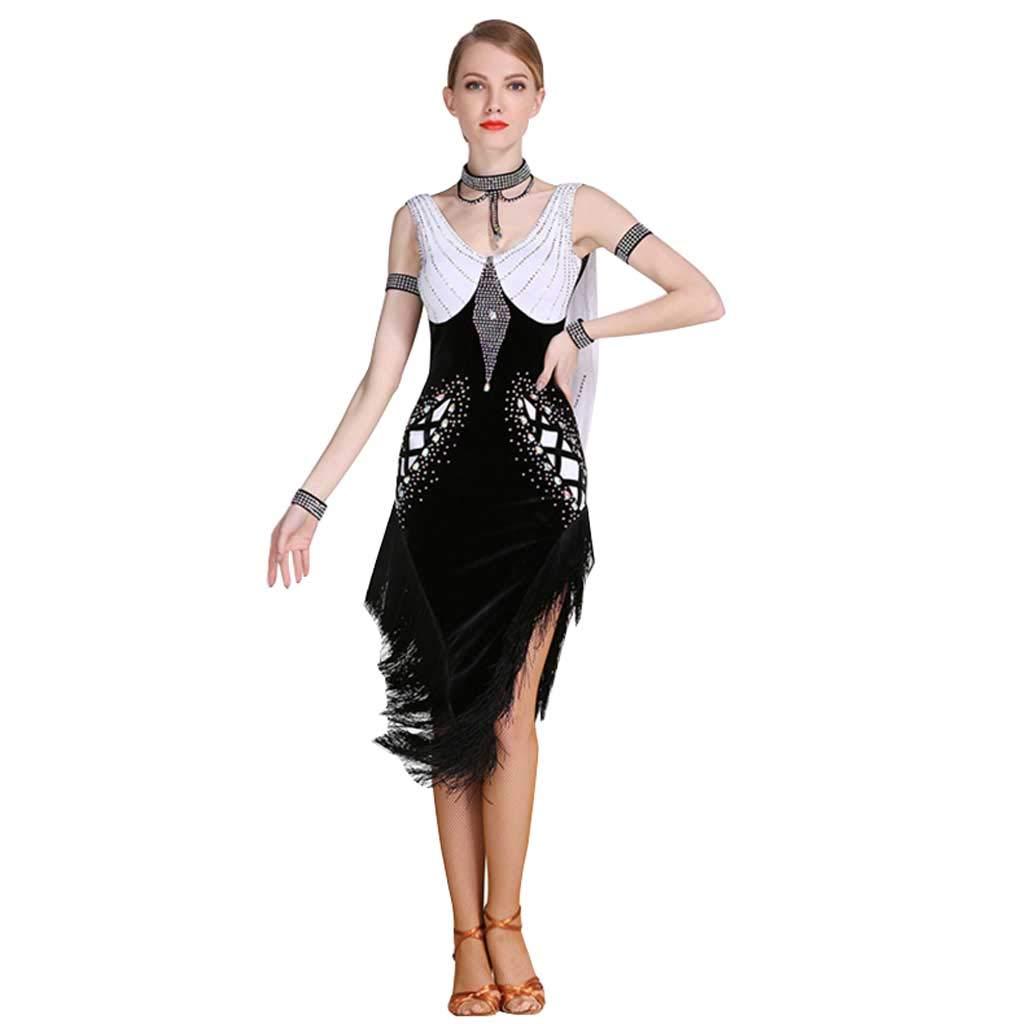 アダルトラテンダンスパフォーマンススカート、フリンジラテンダンススカート B07H89LPSR M|ブラック ブラック M