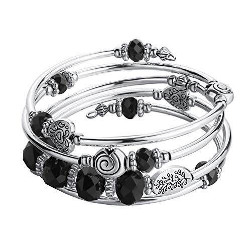 Bead Crystal Wrap Bangle Bracelet - Fashion Jewelry Pearl Bracelet with Silver Metal, Gifts for Women (Black Crystal) ()