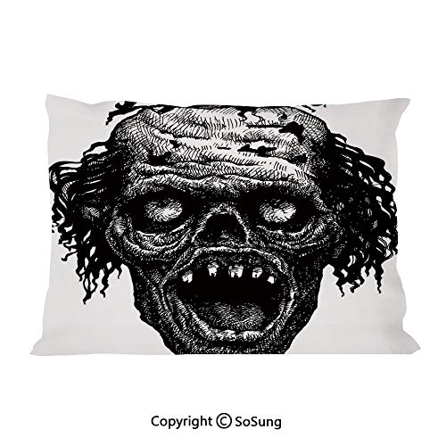 SoSung Halloween Bed Pillow Case/Shams Set of 2,Zombie Evil Dead Man Portrait Fiction Creature Scary Monster Graphic King Size Without Insert (2 Pack Pillowcase 36