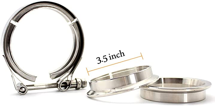 """3.5/"""" 89mm Stainless Steel V Band Clamp and Flange Kit for Turbo Exhaust Downpipe"""