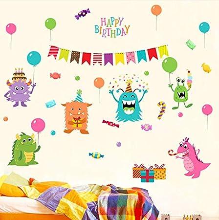 GLLCYL Extraíble Monster Candy Cumpleaños Pegatinas De Pared ...