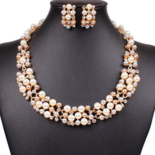 Mother Of Pearl Circular Earring (Sinfu Necklace Women Multi-Row Strand Pearl Beaded Torsade Bib Collar Necklace Earrings Set)