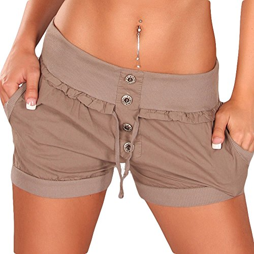 Sexy Damen Shorts kurze Hose Pump Shorty Bermuda 34 36 38 S M L Neu Cappuccino