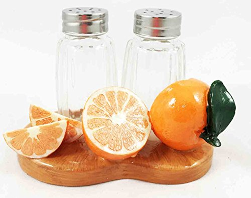 Harvest of Sunkist Citrus Orange Fruit and Spice Salt Pepper Shaker Holder Figurine Stand
