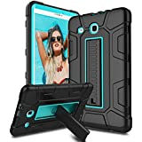 Venoro Samsung Galaxy Tab E 9.6 Case, [Kickstand Feature] Shockproof Rugged Heavy Duty Three Layer Armor Defender Protective Case Cover for Samsung SM-T560/SM-T561/SM-T567 (Black/Blue)