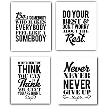 Amazoncom Motivational Inspirational Quotes Art Prints 4 Pack