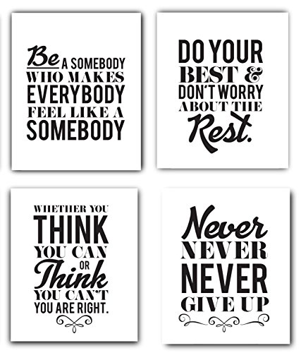 Motivational Inspirational Quotes UNFRAMED Art Prints Set of 4 8x10