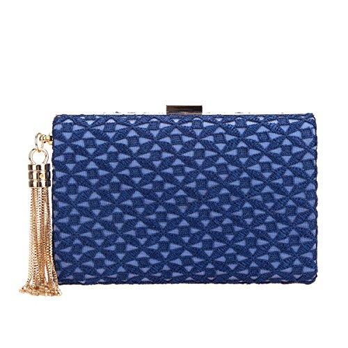 Bonjanvye And Evening Tassel Lace Purses Women Blue For Bags Clutches HqOHfrwxA