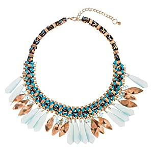 Just Showoff Women's Alloy Sky Blue Dangling Necklace