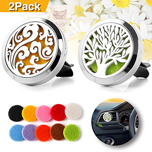 2PCS Car Air Freshener Aromatherapy Essential Oil Diffuser Vent Clip - Cloud, Tree of Life Stainless Steel Locket -