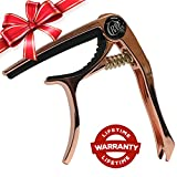 Crave Tone Premium Capo with Peg Puller and Storage pouch, Professional Grade for Acoustic, Electric, Folk Guitar, Bass, Ukulele, Banjo and Mandolin, Lifetime Warranty (Rose Gold)