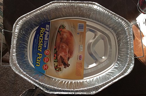 Ez Foil Roaster Pan Oval with Handles Holds a Max of 20lbs By Hefty