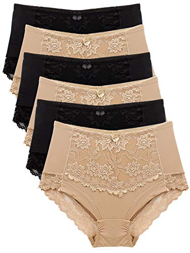 Barbra's 6 pack High Waist Leg Elegant Lace Trim Panties, (large),Assorted Color( Black and Nude )