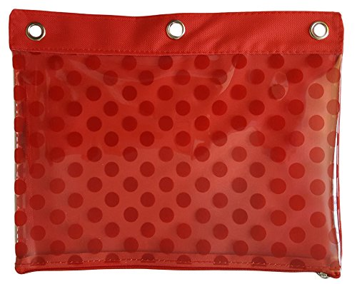 - Canvas Zippered 3 Ring Binder Pencil Holder Pouch With Clear Plastic Geometric Shape Pattern (Red Dots)