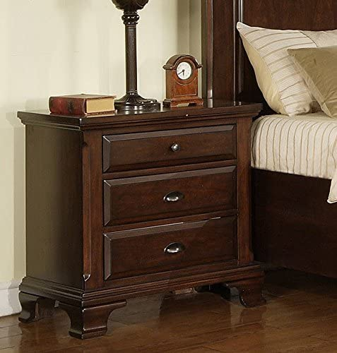Three Drawer Nightstand with Antiqued Cherry Finish