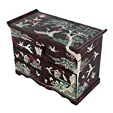 Mother of Pearl Crane and Pine Tree in Red Mulberry Paper Design Wooden Jewelry Mirror Trinket Keepsake Treasure Drawer Lacquer Box Case Chest Organizer