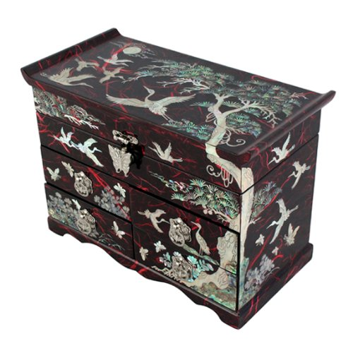 - Mother of Pearl Crane and Pine Tree in Red Mulberry Paper Design Wooden Jewelry Mirror Trinket Keepsake Treasure Drawer Lacquer Box Case Chest Organizer