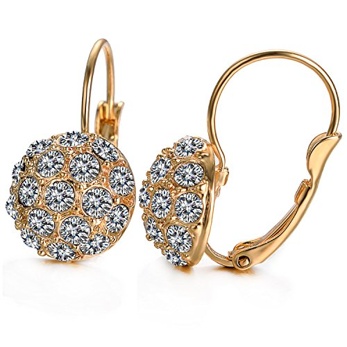 Yoursfs Cubic Zirconia Leverback Earrings for Women 18K GP Sparkly Dangle Earring
