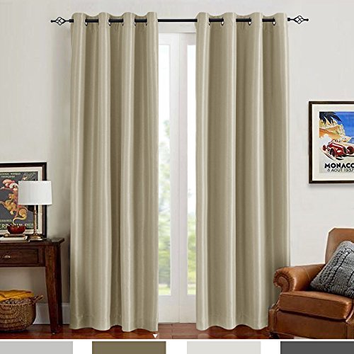 Blackout Curtains for Bedroom 84 inches Length Luxury Antibacteria Window Curtains for Living Room Faux Silk Curtain Panels (Pack of 2, 84 Inch, Taupe) (Panel Silk)