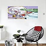 Liguo88 Custom canvas Cartoon Decor Collection A Crocodile Knotting His Tie Looks in the Mirror and Sees Himself As Sheep Fun Cartoon Bedroom Living Room Wall Hanging Puple Green