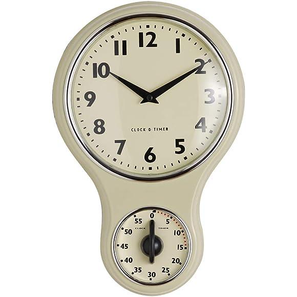 ProCook Cream Retro Kitchen Clock & Timer