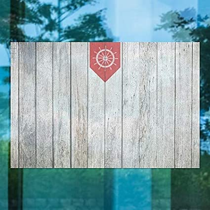 30x20 Nautical Wood Window Cling 5-Pack CGSignLab Blank