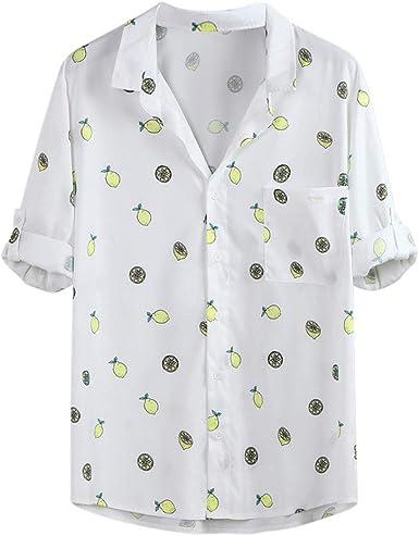 ACEBABY Camisa Hawaiana Hombre Camisa de Manga de Cinco ...