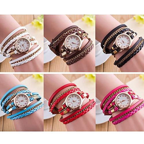Leather Watch Around Bangle Wrap - RBuy 6 Pack Multi Layers Wrap Around Leather Bracelet Quartz Watches Women Lady Girls Men Gift Wholesale