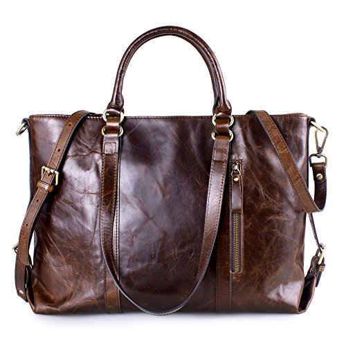 Kattee Vintage Genuine Leather Lady Satchel Tote Handbag Coffee