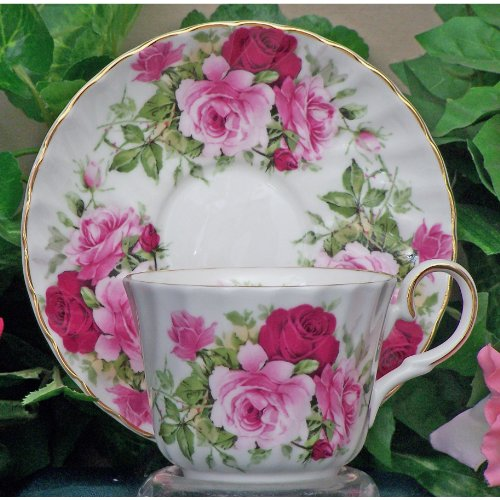 English Tea Store Summertime Rose Fine Bone China Cup And Saucer Set Of 4