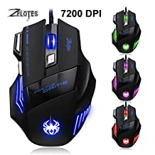 MiiU (TM) T80 Game Gaming Mouse Mice by ZELOTES Professional LED Optical 7200 DPI 7 Button USB Wired for gamer Adjustable DPI Switch Function 5500DPI/3200DPI/2400 DPI /1600 DPI /1000 DPI For Pro Game Notebook PC Laptop Computer